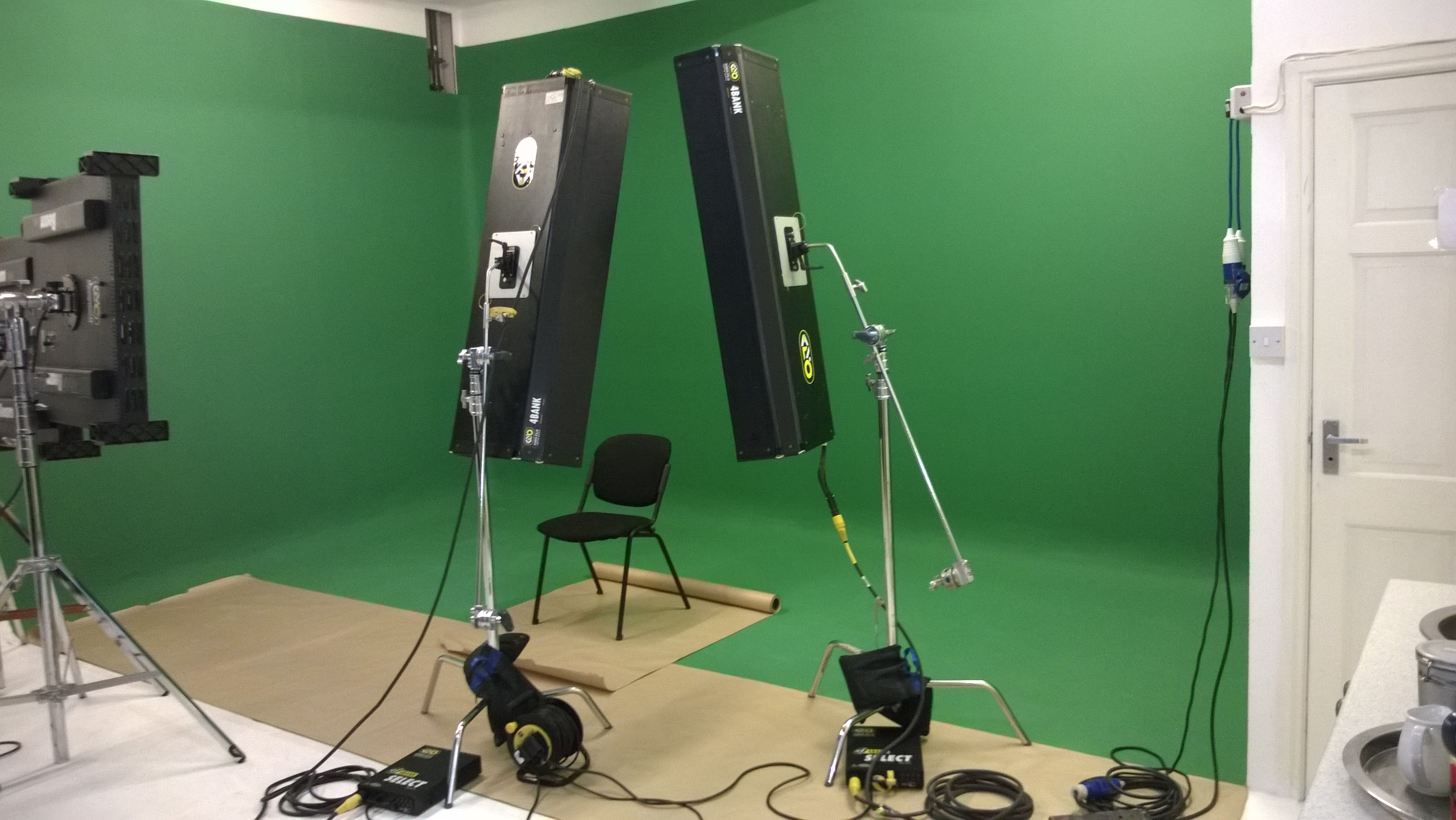 studio green screen wall with lighting the post factory group